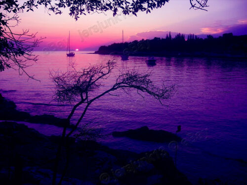 "//Magenta Sea Evening// canvas Medium Up to 30/"" Seascape Realism 0.25/"" border"