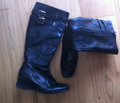 Knee Boots Black Size Leather Next 39 Eur Uk 6 Flat ZdtAwq