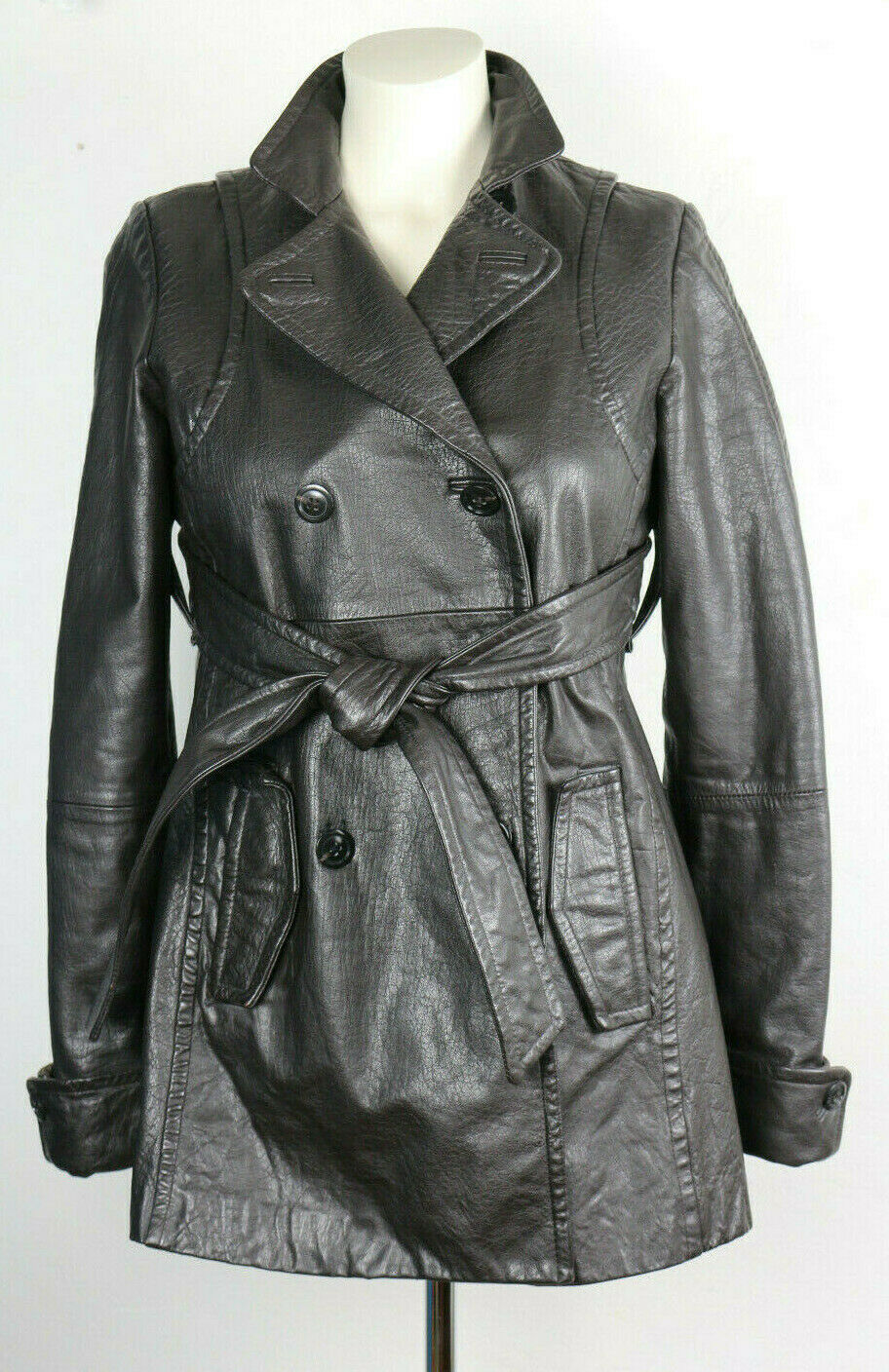 Women's A X Armani Exchange Leather Coat Dark Brown Short Trench size S