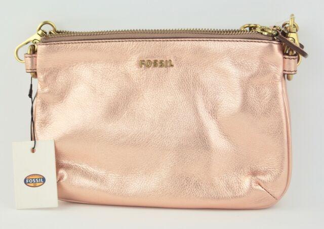 8632d74d347 Fossil Memoir Rose Gold Leather Top Zip Clutch/shoulder Handbag Purse