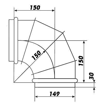 Kniestück 90°, Knie,Umlenkstück, Bogen für Lüftungsrohr, Abluftrohr, Metallrohr