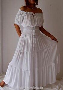 8167f90765a white dress peasant smocked ruffled S M L XL 1X 2X 3X 4X 5X 6X PLUS ...