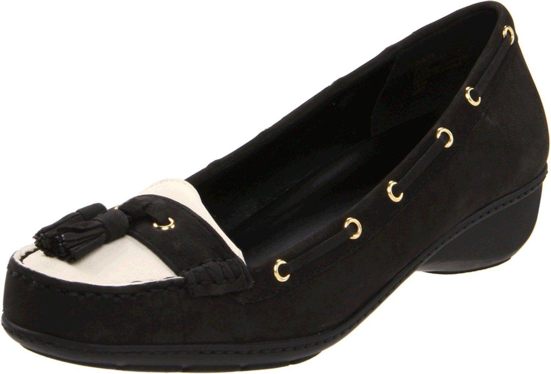 New Lauren Ralph Lauren GAEL Nubuck Leather *6.5 Loafer Flat Wedge ~Nero/White *6.5 Leather 115bfa