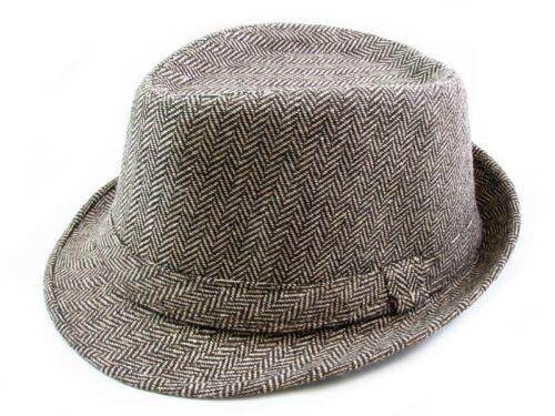 Cotton Fedora Hat Cap trilby Mens BROWN stripe Womens Unisex fashion style NEW