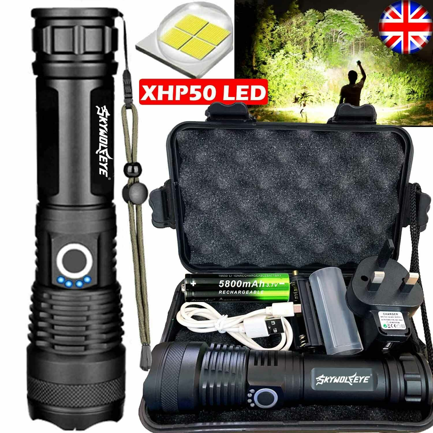 High Power 900000 Lumens XHP50 Zoom Flashlight LED Rechargeable Lamp Torch SF