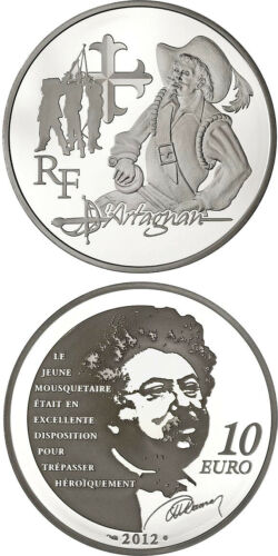 10 Euro Silver Proof Coin 2012 France D/'Artagnan 3 Musketeers