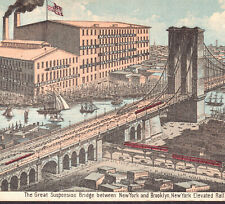 Brooklyn Bridge 1880's New York City Elevated Railroad Baking Powder Trade Card