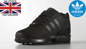 facde19e5d7d Adidas Originals Mens ZX Flux Trainers Lace Up Black Running Shoes