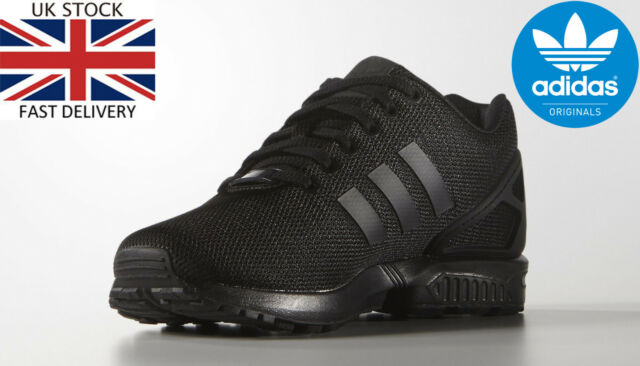 info for fa34e 5aa00 Adidas Originals Mens ZX Flux Trainers Lace Up Black Running Shoes