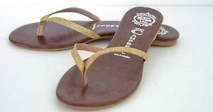 Jeffery-Campbell-Magma-Gold-Glitter-Thong-Flip-Flops-Size-6