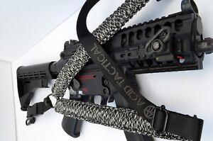 Tactical-550-Paracord-Rifle-Gun-Sling-Single-Point-Airsoft-34-034-Black-White
