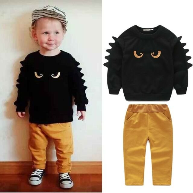 Cute 2pc Jumper Sweat shirt Top + Pant Clothes Set Baby Toddler Boy Outfit Suit