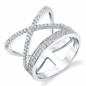 Women-925-Sterling-Silver-Criss-Cross-X-Ring-with-CZ-Fun-Everyday-Ring-For-Her