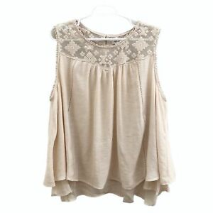 Style-amp-Co-Womens-Blouse-Scoop-Neck-Sleeveless-Mesh-Embroidery-Beige-3X-New