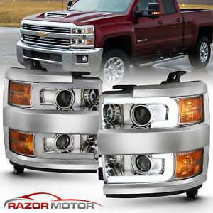 LED Tube 15-19 Chevy Silverado 2500 3500 HD Chrome Nova Projector Headlights