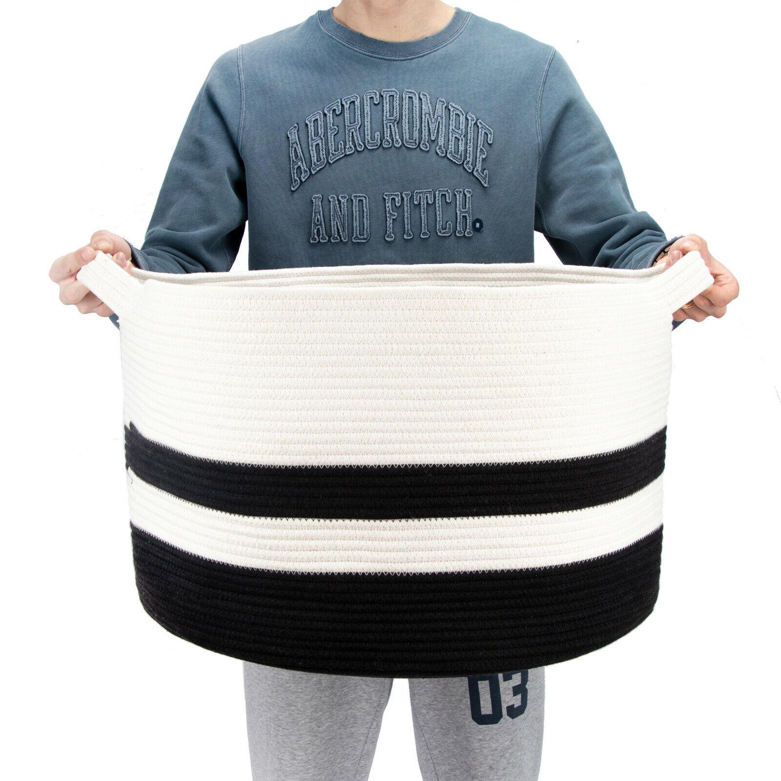 Nursery 20x20x13 Decorative Cotton Rope Basket With Weave Handles Grey Blanket Basket Large Laundry Hamper Toy Basket Round Woven Storage Basket Baby Samel Com Br