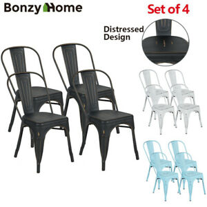 Set-of-4-Metal-Dining-Chairs-Vintage-Distressed-Design-Stackable-Iron-Side-Chair