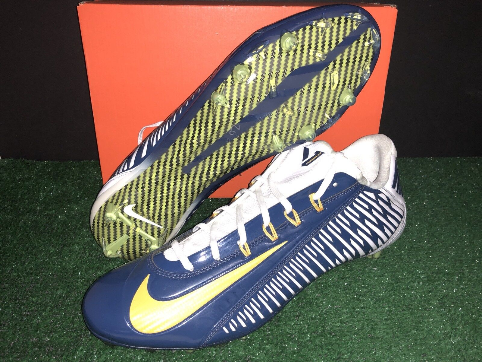 NIKE VAPOR CARBON 2.0 ELITE FOOTBALL CLEATS CHARGERS NAVY GOLD MEN'S SIZE 16 Cheap and beautiful fashion