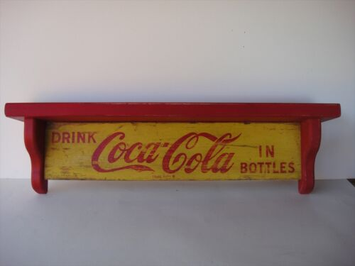 Coca-Cola Wooden Wall Display Shelf crafted from original 1960/'s soda cases