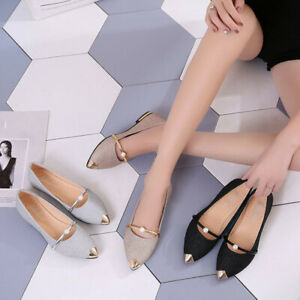 Elegance-Women-Pointed-Toe-Flat-Shallow-Low-Heel-Low-bottom-Frosted-Office-Shoes