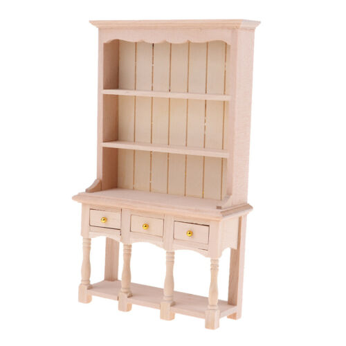 1//12 Dollhouse Miniature Furniture DIY Unpainted Wooden Bookcase Cabinet
