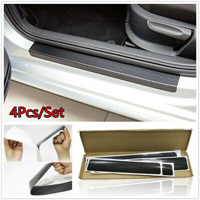 For Model X Model S Door Sill Protector,Kick Plates Pedal Threshold Cover Carbon Fiber Sticker Anti-Scratch Anti-Slip Car Styling 4Pcs Red