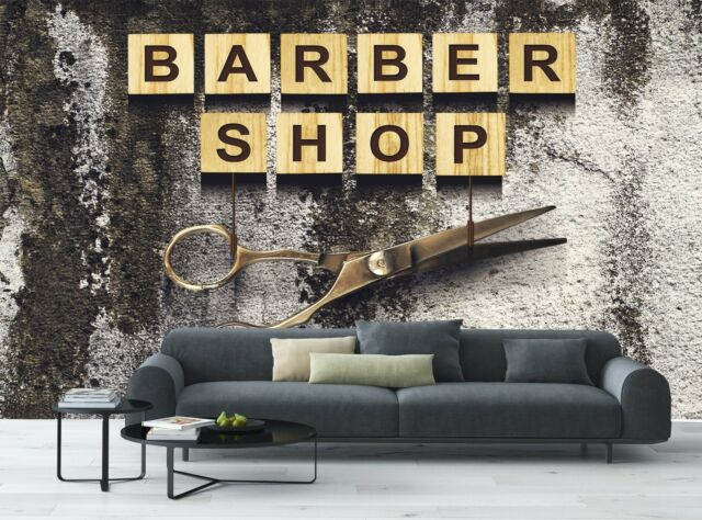 Concept Barber Shop   Wall Mural Photo Wallpaper GIANT WALL DECOR  Free Glue