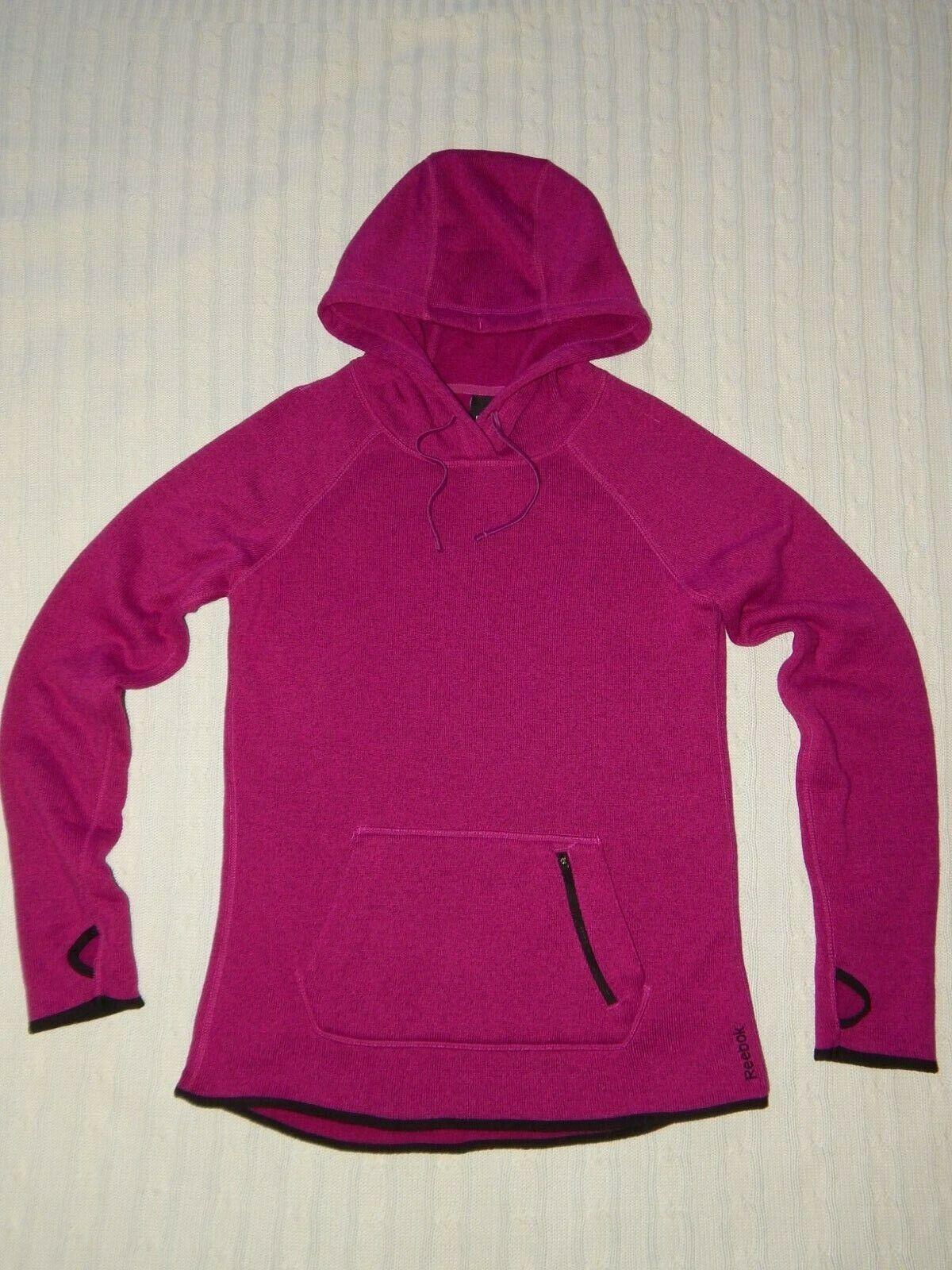 REEBOK ― Womens S ― Fushia Knit Fleece Lined Athletic Hoodie Sweatshirt ― #603A