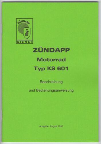 A 5 Beschreibung und Bedienungsanweisung Zündapp KS 601