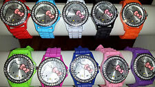 Job lot 24 pcs Rubber Silicone Hello Kitty Diamante Watches wholesale - lot K