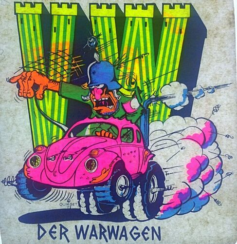 Original Vintage VW Der Warwagen Iron On Transfer Volkswagen DAYGLO