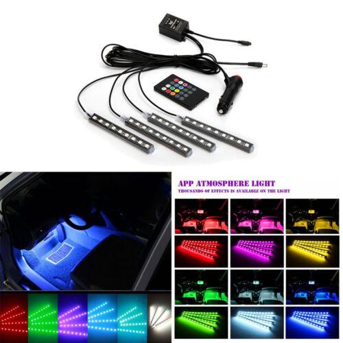 LED Car Interior Kit Glow Under Dash Foot Well Seats Inside Light Lamp 4 in 1 UK