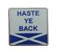 縮圖 1 - 'Haste Ye Back' Scots Slang Saltire Pin Badge