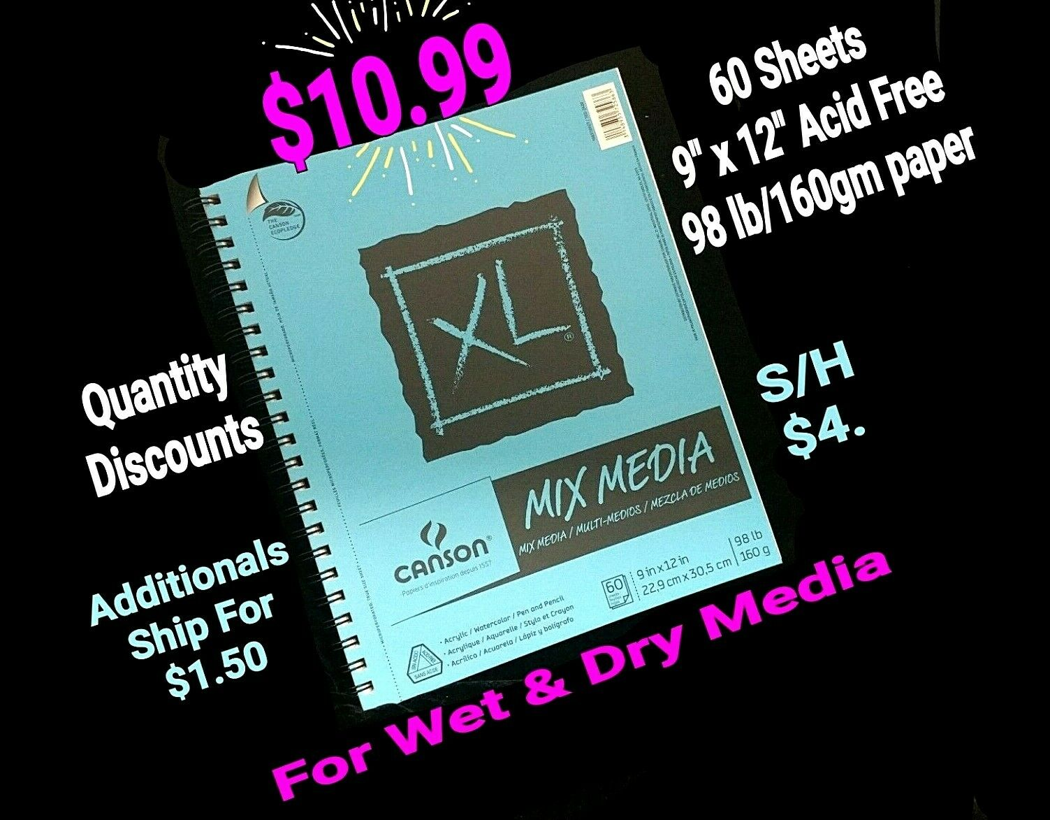 11 x 14 Inch Canson Artist Series Mix Media Paper Pad for Wet or Dry Media 138 Pound 20 Sheets Dual Surface with Fine and Medium Textures Тwo Рack