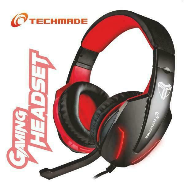 CUFFIE GAMING MULTIMEDIALI ROSSO TECHMADE TM-FL1 PER PS4 SWITCH XBOX COMPUTER