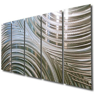 Metal wall art sculpture by jon allen handmade silver decor synchronicity ebay Home decor wall art contemporary