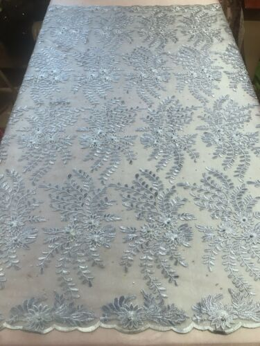 """Sky Blue embroidery Beads Lace Fabric 50"""" Width Sold By The Yard"""