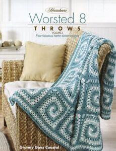Worsted 8 Throws Vol. 2 Herrschners Crochet/Knit PATTERN/INSTRU<wbr/>CTIONS/NEW