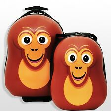 CUTIES AND PALS KIDS BOY GIRL CARRY-ON TROLLEY LUGGAGE + BACKPACK - CONGO MONKEY