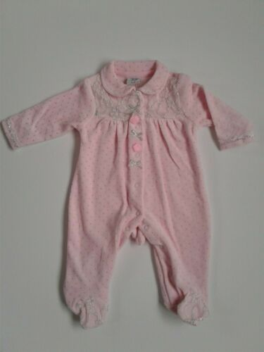 Baby girls clothes spanish romany style lace velour sleepsuit 0-9 months