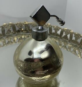 Vintage-IRICE-Gold-Crackled-Glass-Perfume-Atomizer-3-1-2-Tall