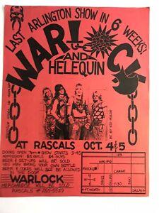 Dallas TX 1980's Hair Band Flyer WARLOCK & HARLEQUIN At Rascals Arlington & Map