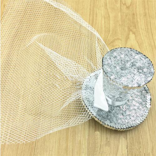 Mini Glitter Top Hat Headband Ladies Veil Burlesque Hen Night Party Fancy  Y8