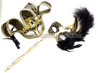 Masquerade Ball Stick Mask Graduation School Prom Dance Party Jester Feather