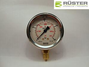 "Hydraulik Manometer Glycerin Ø 63, 0-1000 bar Anschluss 1/4"" unten klasse 1.6"