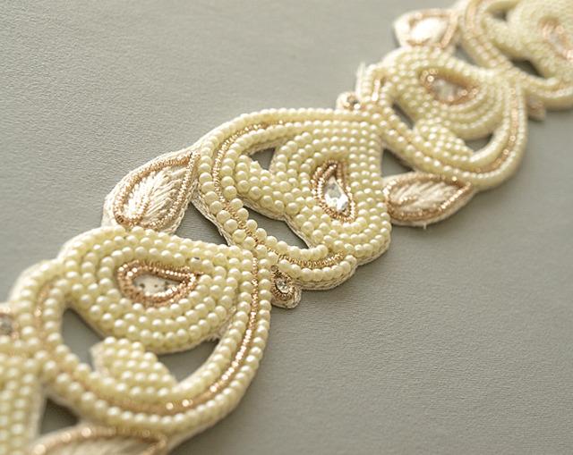 Hand Beaded Bridal Trim White Silver  Light Gold Metal Thread & Pearls 2.5 Yards