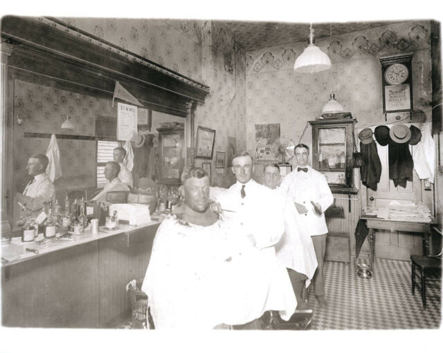 Vintage Barber Shop Barbers Cutting Hair Rexall Clock Michigan Pennant 1915 LOOK