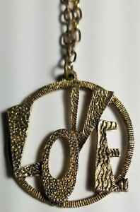 1960-039-s-RARE-VINTAGE-LOVE-Pendant-Necklace-Never-Used-NOS-PEACE-HIPPIE-PROTEST