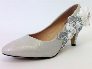 Boda Zapatos-La Novia / Bridal / Dama / PROM / Zapatos-plateado tamaño 5 Reino Unido