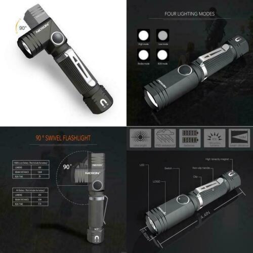 Flashlight 90 Degree Mini Flashlight Nicron N7 600 Lumens Tactical Flashlight